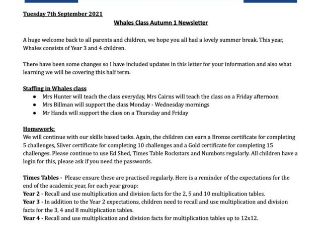 Autumn 1 2021 Welcome Curriculum Letter 1