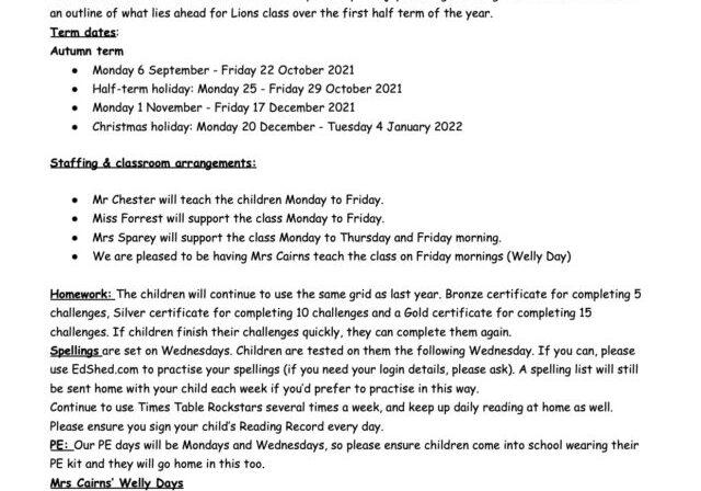 Lions Autumn 1 2021 Curriculum Map Letter